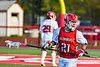 Baldwinsville Bees Brayden Penafeather-Stevenson (21) before playing the Cicero-North Syracuse Northstars in a Section III Boys Lacrosse game at the Pelcher-Arcaro Stadium in Baldwinsville, New York on Tuesday, May 11, 2021.