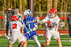 Baldwinsville Bees Victor Ianno (2) and Keegan Lynch (13) defending against Cicero-North Syracuse Northstars Elijah Martin (1) in Section III Boys Lacrosse action at the Pelcher-Arcaro Stadium in Baldwinsville, New York on Tuesday, May 11, 2021. Baldwinsville won 17-6.
