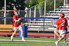 Baldwinsville Bees Patrick Otts (32) passing the ball to Victor Ianno (2) against the Liverpool Warriors in Section III Boys Lacrosse action at Liverpool High School Stadium in Liverpool, New York on Thursday, May 13, 2021. Baldwinsville won 17-3.
