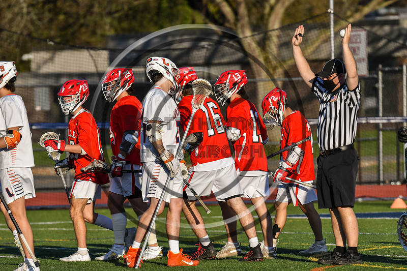 Baldwinsville Bees celebrating a goal against the Liverpool Warriors in Section III Boys Lacrosse action at Liverpool High School Stadium in Liverpool, New York on Thursday, May 13, 2021. Baldwinsville won 17-3.