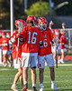 Baldwinsville Bees Lucas Hoskin (16) celebrates his goal against the Liverpool Warriors in Section III Boys Lacrosse action at Liverpool High School Stadium in Liverpool, New York on Thursday, May 13, 2021. Baldwinsville won 17-3.