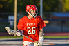 Baldwinsville Bees Colin Socker (26) looking to make a play against the Liverpool Warriors in Section III Boys Lacrosse action at Liverpool High School Stadium in Liverpool, New York on Thursday, May 13, 2021. Baldwinsville won 17-3.