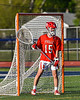 Baldwinsville Bees goalie Mason Clark (15) during pre-game warm ups before the Bees played the Liverpool Warriors in a Section III Boys Lacrosse game at Liverpool High School Stadium in Liverpool, New York on Thursday, May 13, 2021.
