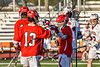 Baldwinsville Bees Victor Ianno (2) celebrates his goal against Liverpool Warriors in Section III Boys Lacrosse action at Liverpool High School Stadium in Liverpool, New York on Thursday, May 13, 2021. Baldwinsville won 17-3.