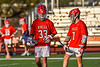Baldwinsville Bees Jacob Czyz (7) and Trey Ordway (33) before a face-off against the Liverpool Warriors in Section III Boys Lacrosse action at Liverpool High School Stadium in Liverpool, New York on Thursday, May 13, 2021. Baldwinsville won 17-3.