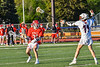 Baldwinsville Bees Colin Socker (26) being defended by  Liverpool Warriors Dominick Osbeck (11) in Section III Boys Lacrosse action at Liverpool High School Stadium in Liverpool, New York on Thursday, May 13, 2021. Baldwinsville won 17-3.
