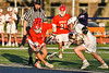 Baldwinsville Bees Jacob Czyz (7) wins a face-off against the Liverpool Warriors in Section III Boys Lacrosse action at Liverpool High School Stadium in Liverpool, New York on Thursday, May 13, 2021. Baldwinsville won 17-3.