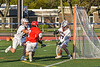 Baldwinsville Bees Victor Ianno (2) shoots and scores against Liverpool Warriors goalie Owen Salanger (17) in Section III Boys Lacrosse action at Liverpool High School Stadium in Liverpool, New York on Thursday, May 13, 2021. Baldwinsville won 17-3.