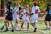 Baldwinsville Bees players celebrate a goal against the Marcellus Mustangs in Section III Boys Lacrosse action at the Pelcher-Arcaro Stadium in Baldwinsville, New York on Saturday, May 15, 2021. Baldwinsville won 17-4.