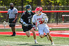 Baldwinsville Bees Victor Ianno (2) with the ball against  Marcellus Mustangs Luke Spitzer (11) in Section III Boys Lacrosse action at the Pelcher-Arcaro Stadium in Baldwinsville, New York on Saturday, May 15, 2021. Baldwinsville won 17-4.