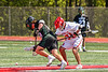 Marcellus Mustangs Matt Welch (10) wins a face-off against Baldwinsville Bees Brayden Penafeather-Stevenson (21) in Section III Boys Lacrosse action at the Pelcher-Arcaro Stadium in Baldwinsville, New York on Saturday, May 15, 2021. Baldwinsville won 17-4.