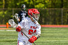 Baldwinsville Bees David Mahar (24) with the ball against the Marcellus Mustangs in Section III Boys Lacrosse action at the Pelcher-Arcaro Stadium in Baldwinsville, New York on Saturday, May 15, 2021. Baldwinsville won 17-4.