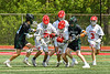 Baldwinsville Bees battle for the loose ball against the Marcellus Mustangs in Section III Boys Lacrosse action at the Pelcher-Arcaro Stadium in Baldwinsville, New York on Saturday, May 15, 2021. Baldwinsville won 17-4.