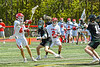 Baldwinsville Bees William Guild (6) shoots and scores a goal against Marcellus Mustangs goalie Quenten Polkowski (16) in Section III Boys Lacrosse action at the Pelcher-Arcaro Stadium in Baldwinsville, New York on Saturday, May 15, 2021. Baldwinsville won 17-4.