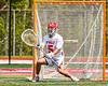 Baldwinsville Bees goalie Cooper Foote (5) in net against the Marcellus Mustangs in Section III Boys Lacrosse action at the Pelcher-Arcaro Stadium in Baldwinsville, New York on Saturday, May 15, 2021. Baldwinsville won 17-4.