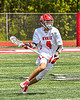 Baldwinsville Bees Caden Cox (4) running with the ball against the Marcellus Mustangs in Section III Boys Lacrosse action at the Pelcher-Arcaro Stadium in Baldwinsville, New York on Saturday, May 15, 2021. Baldwinsville won 17-4.