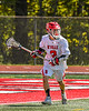 Baldwinsville Bees Leo Johnson (3) with the ball against the Marcellus Mustangs in Section III Boys Lacrosse action at the Pelcher-Arcaro Stadium in Baldwinsville, New York on Saturday, May 15, 2021. Baldwinsville won 17-4.