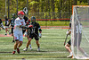 Baldwinsville Bees Lucas Hoskin (16) drives past Marcellus Mustangs defenders to score a goal in Section III Boys Lacrosse action at the Pelcher-Arcaro Stadium in Baldwinsville, New York on Saturday, May 15, 2021. Baldwinsville won 17-4.