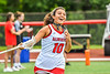 Baldwinsville Bees Emma Gebhardt (10) being introduced before playing the Cicero-North Syracuse Northstars in the Section III Class A Girls Lacrosse Finals game at Pelcher-Arcaro Stadium in Baldwinsville, New York on Saturday, May 12, 2021.