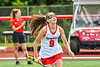 Baldwinsville Bees Grace Hollenbeck (9) being introduced before playing the Cicero-North Syracuse Northstars in the Section III Class A Girls Lacrosse Finals game at Pelcher-Arcaro Stadium in Baldwinsville, New York on Saturday, May 12, 2021.