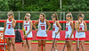 Baldwinsville Bees Hannah Mimas (8), Grace Hollenbeck (9), Emma Gebhardt (10), Sophia Muscolino (14), Tiffany Natoli (16) and Carlie Desimone (18) waiting to be introduced before playing the Cicero-North Syracuse Northstars in a Section III Class A Girls Lacrosse Finals game at Pelcher-Arcaro Stadium in Baldwinsville, New York on Saturday, May 12, 2021.