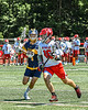 Baldwinsville Bees Lucas Hoskin (16) with the ball against the West Genesee Wildcats in Section III Class A Finals Boys Lacrosse action at Pelcher-Arcaro Stadium in Baldwinsville, New York on Saturday, May 12, 2021. Baldwinsville won 14-7.