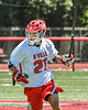 Baldwinsville Bees Brayden Penafeather-Stevenson (21) playing against the West Genesee Wildcats in Section III Class A Finals Boys Lacrosse action at Pelcher-Arcaro Stadium in Baldwinsville, New York on Saturday, May 12, 2021. Baldwinsville won 14-7.