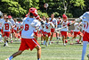 Baldwinsville Bees players celebrate the win over the West Genesee Wildcats in the Section III Class A Finals Boys Lacrosse game at Pelcher-Arcaro Stadium in Baldwinsville, New York on Saturday, May 12, 2021. Baldwinsville won 14-7.