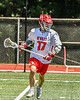 Baldwinsville Bees Ryan Hollenbeck (17) with the ball against the West Genesee Wildcats in Section III Class A Finals Boys Lacrosse action at Pelcher-Arcaro Stadium in Baldwinsville, New York on Saturday, May 12, 2021. Baldwinsville won 14-7.