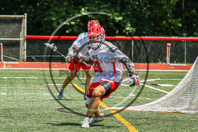 Baldwinsville Bees Michael Marsallo (29) celebrates his goal against the West Genesee Wildcats in Section III Class A Finals Boys Lacrosse action at Pelcher-Arcaro Stadium in Baldwinsville, New York on Saturday, May 12, 2021. Baldwinsville won 14-7.