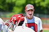 Baldwinsville Bees Manager Jace Ordway cheering the Bees' players during introductions before the Section III Class A Finals Boys Lacrosse game at Pelcher-Arcaro Stadium in Baldwinsville, New York on Saturday, May 12, 2021.