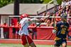 Baldwinsville Bees John Morrissey (18) shoots at the West Genesee Wildcats net in Section III Class A Finals Boys Lacrosse action at Pelcher-Arcaro Stadium in Baldwinsville, New York on Saturday, May 12, 2021. Baldwinsville won 14-7.
