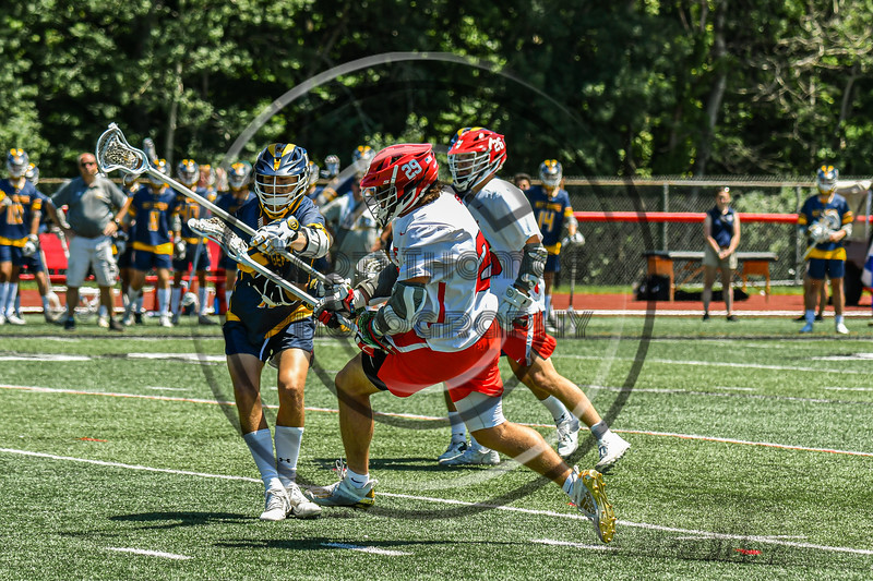 Baldwinsville Bees Michael Marsallo (29) shoots and scores a goal against the West Genesee Wildcats in Section III Class A Finals Boys Lacrosse action at Pelcher-Arcaro Stadium in Baldwinsville, New York on Saturday, May 12, 2021. Baldwinsville won 14-7.