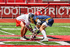 Baldwinsville Bees Jacob Czyz (7) facing off against West Genesee Wildcats Ryan Kemp (18) in Section III Class A Finals Boys Lacrosse action at Pelcher-Arcaro Stadium in Baldwinsville, New York on Saturday, May 12, 2021. Baldwinsville won 14-7.
