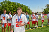 Baldwinsville Bees Colin Socker (26) receiving his NYSPHSAA Section III Class A Boys Lacrosse championship medal at the Pelcher-Arcaro Stadium in Baldwinsville, New York on Saturday, June 12, 2021.