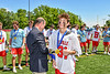 Baldwinsville Bees XXXXX receiving his NYSPHSAA Section III Class A Boys Lacrosse championship medal at the Pelcher-Arcaro Stadium in Baldwinsville, New York on Saturday, June 12, 2021.