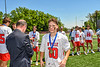 Baldwinsville Bees Jack Prossner (10) receiving his NYSPHSAA Section III Class A Boys Lacrosse championship medal at the Pelcher-Arcaro Stadium in Baldwinsville, New York on Saturday, June 12, 2021.