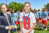 Baldwinsville Bees Jace Ordway receiving his NYSPHSAA Section III Class A Boys Lacrosse championship medal at the Pelcher-Arcaro Stadium in Baldwinsville, New York on Saturday, June 12, 2021.