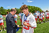 Baldwinsville Bees Trey Ordway (33) receiving his NYSPHSAA Section III Class A Boys Lacrosse championship medal at the Pelcher-Arcaro Stadium in Baldwinsville, New York on Saturday, June 12, 2021.