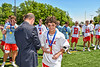 Baldwinsville Bees Ryan Quinn (1) receiving his NYSPHSAA Section III Class A Boys Lacrosse championship medal at the Pelcher-Arcaro Stadium in Baldwinsville, New York on Saturday, June 12, 2021.