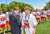 Baldwinsville Bees David Mahar (24) receiving his NYSPHSAA Section III Class A Boys Lacrosse championship medal at the Pelcher-Arcaro Stadium in Baldwinsville, New York on Saturday, June 12, 2021.