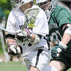 "03/24/2010...Ridgewood's Andrew ""Goldfish"" Toner (9) moving up field with Delbarton's Sean O'Keefe in close persuit<br /> PHOTO: KELLY BIRDSEYE"