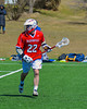 Baldwinsville Bees Matt Zandri (22) with the ball against the Cazenovia Lakers on Saturday, April 6, 2013. Cazenovia won 5-4 in Double Overtime.