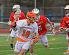 Liverpool Warriors Peter Flood (18) carrying the ball against the Baldwinsville Bees on Tuesday, April 9, 2013.