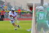 Baldwinsville Bees Austin McAskill (17) fires a shot at the Cicero-North Syracuse Northstars net in Class A quarterfinal Section III Boys Lacrosse action at the Pelcher-Arcaro Stadium in Baldwinsville, New York.