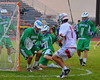 Cicero-North Syracuse Northstars goalie Bryan Schenk (28) stops a point blank shot by Baldwinsville Bees Austin McAskill (17) in Class A quarterfinal Section III Boys Lacrosse action at the Pelcher-Arcaro Stadium in Baldwinsville, New York.