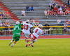 Baldwinsville Bees Stephen Petrelli (9) comes away with a loose ball against the Cicero-North Syracuse Northstars in Class A quarterfinal Section III Boys Lacrosse action at the Pelcher-Arcaro Stadium in Baldwinsville, New York.