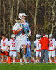 Baldwinsville Bees Ronnie Bertrand (6) sizing up the Corcoran Cougars defense in Section III Boys Lacrosse action at the Pelcher-Arcaro Stadium in Baldwinsville, New York.  Baldwinsville won 10-1.