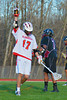 Baldwinsville Bees Austin McAskill (17) celebrates a goal against the Corcoran Cougars in Section III Boys Lacrosse action at the Pelcher-Arcaro Stadium in Baldwinsville, New York.  Baldwinsville won 10-1.