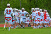 Baldwinsville Bees Matthew Paddock (21) being introduced before playing the Liverpool Warriors in Section III Boys Lacrosse action at the Pelcher-Arcaro Stadium in Baldwinsville, New York.  Bees won 10-6.